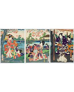 kunichika toyohara, tale of genji, japanese garden