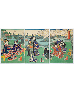 toyokuni III utagawa, prince genji, cherry blossom viewing