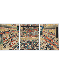 Toyokuni III Utagawa, Kabuki Play, Shibaraku at Morita-za