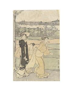 torii kiyonaga, beauty, garden, edo period