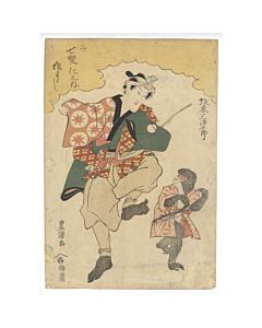 Toyokuni I Utagawa, Kabuki Actor, Bando Mitsugoro III as Monkey Showman