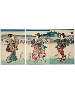 Kuniyoshi Utagawa, Ladies Walking Down the Street, Kimono Fashion