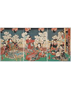 Toyokuni III Utagawa, The Tale of Genji, Playing Music