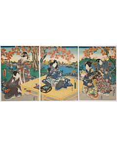 toyokuni III utagawa, autumn picnic, prince genji