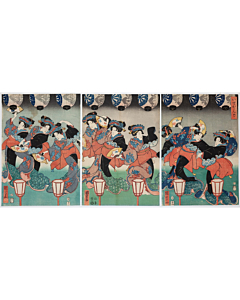 kuniyoshi utagawa, ise song, dance, performance