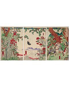 Yoshikazu Utagawa, Minamoto no Yorimitsu Views Sakata Kintoki