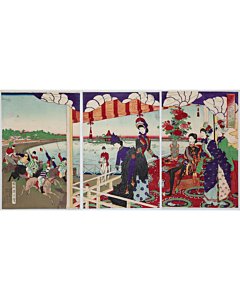 Chikanobu Yoshu, Horse Racing at Shinobazu Racecourse at Ueno