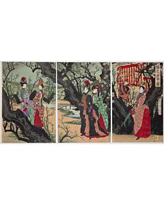 chikanobu yoshu, plum tree, meiji emperor