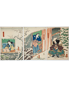 Toyokuni III Utagawa, Kabuki Actors, Traditional Theatre, Snow Scene