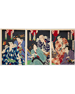 kunichika toyohara, kabuki theatre, actors, tattoo design
