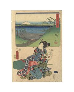 hiroshige I and toyokuni III utagawa, travel, mount fuji, tokaido