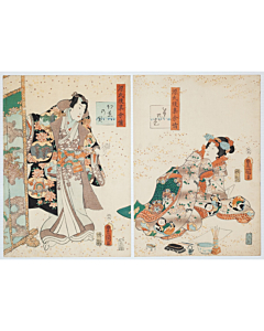 Toyokuni III Utagawa, Tale of Genji, Momiji no Ga Chapter