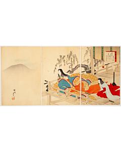 Chikanobu Yoshu, Famous Poet Hachijoin no Takakura, Flower, Birds, Wind and Moon