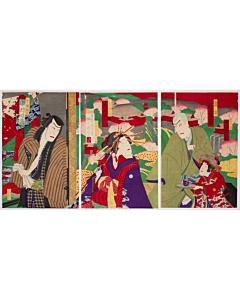 Kunimada Baido, Kabuki Theatre Play, The Scarlet Princess of Edo