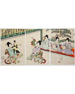 chikanobu yoshu, Sarugaku-Kyogen Play, kimono fashion, The Inner Palace of Chiyoda