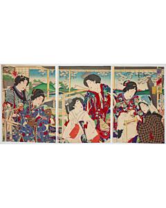 kunichika toyohara, noble ladies, spinning, beauty