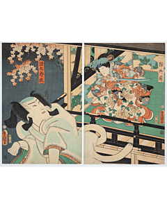 Toyokuni III Utagawa, Kabuki Play, Yoshitsune and the Thousand Cherry Trees