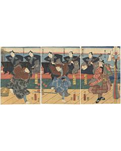 toyokuni III utagawa, traditional dance, folk dance, japanese theatre, entertainment, performance, edo period