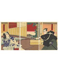kunichika toyohara, kabuki play, ichikawa family, japanese woodblock print, meiji