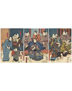 kuniyoshi utagawa, kabuki theatre, performance, entertainment, japanese actors, japanese design, japanese hell, jigoku