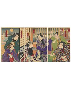 kochoro, utagawa kunisada III, tattoo design, firemen, kabuki, kimono, japanese woodblock print