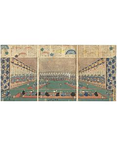 sadahide utagawa, geisha, dance, entertainment, perspective, edo period
