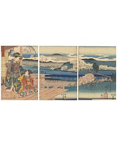 Toyokuni III, Hiroshige I, Genji Beauties, Sagano