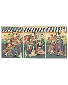fusatane utagawa, prince genji, the tale of genji, peony garden, beauty, botanical, flowers, japanese design, kimono fashion, edo period