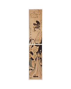 Eisho Chokosai, Hashira-e, Courtesan, kimono, japanese woodblock print, japanese antique