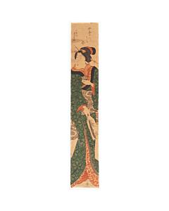 Yoshikazu Utagawa, Lady Playing Hagoita, Hashira-e Pillar Print