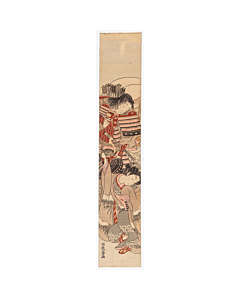 Koryusai Isoda, Samurai Warrior and Young Woman, Hashira-e