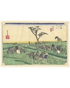 hiroshige ando, The Fifty-three Stations of the Tokaido, chiryu, horses, japanese landscape, travel