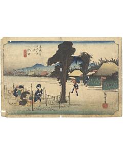 hiroshige ando, Minakuchi 水口, The Fifty-three Stations of the Tokaido 東海道五十三次, japan travel