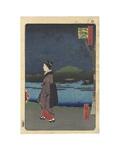 Hiroshige I, One Hundred Famous Views of Edo, Night, Japanese woodblock print, Antique