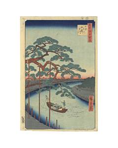 Hiroshige I Ando, landscape, japanese woodblock print, japanese antique, pine tree, nature