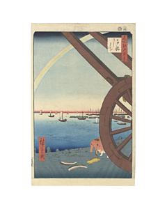 Hiroshige I, One Hundred Famous Views of Edo, Takanawa, Rainbow, Japanese woodblock print