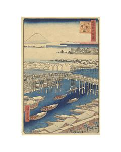 Hiroshige I, Nihon Bridge, One Hundred Famous Views of Edo, Japanese woodblock print, Japanese antique, Mount Fuji