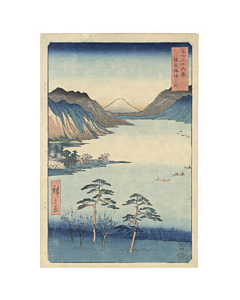 hiroshige ando, Lake Suwa in Shinshu, Mount Fuji