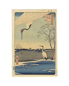 hiroshige ando, cranes, famous views of edo
