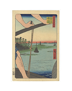 hiroshige ando, benten shrine, ferry at haneda