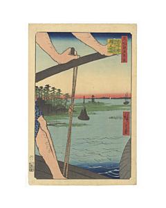 Hiroshige Ando, Ferry at Haneda, Benten Shrine, One Hundred Famous Views of Edo