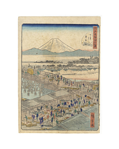 hiroshige II utagawa, Fish Market at Nihonbashi, Forty-eight Famous Views of Edo 江戸名所四十八景