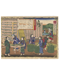 Hiroshige III Utagawa, Rikuzen Province, Making Silk, Famous Products of Japan