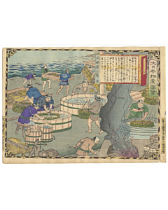 hiroshige III utagawa, Tosa Province, Katsuobushi (Dried Bonito) Making, Famous Products of Japan (大日本物産図会)