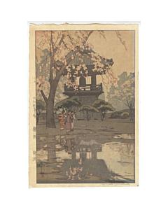 hiroshi yoshida, bell tower, cherry blossom
