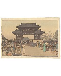 hiroshi yoshida, market in mukden