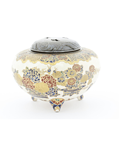 japanese satsuma, traditional, japanese antique, incense burner, flower design, handmade, meiji period