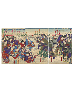 japanese woodblock print, snow fight, kabuki threatre, kunichika toyohara, meiji, irezumi, tattoo design