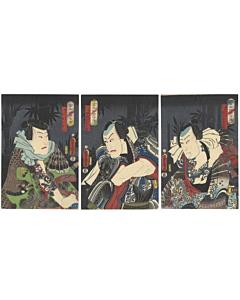 japanese woodblock print, irezumi, tattoo design, kabuki, dragon, kimono, kunisada