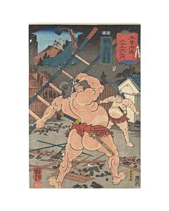 kuniyoshi utagawa, sumo wrestler, kisokaido, japan travel, edo period